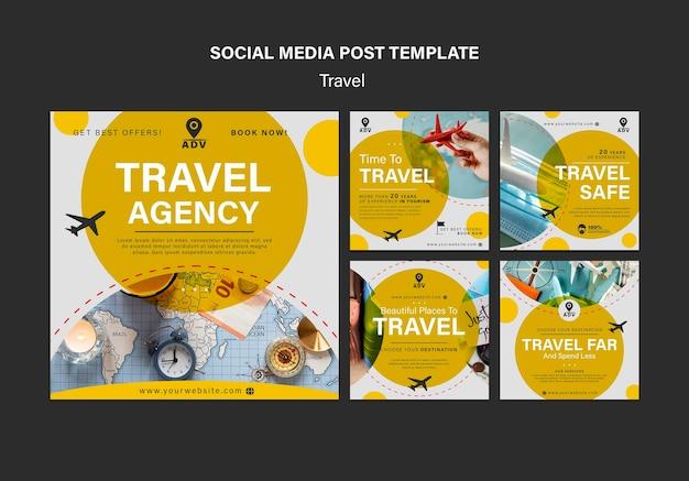 Postagens de agências de viagens nas redes sociais