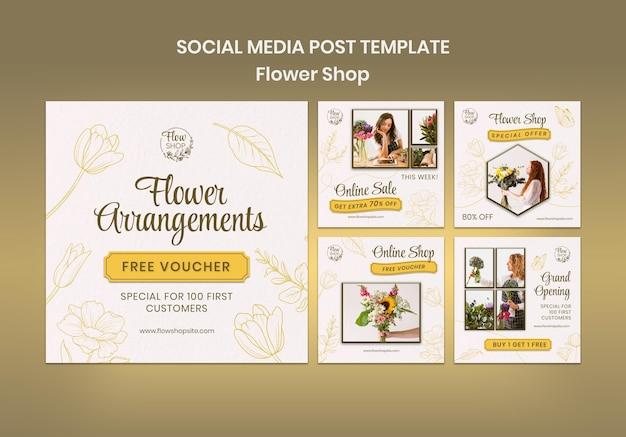 Postagens de arranjos de flores nas redes sociais