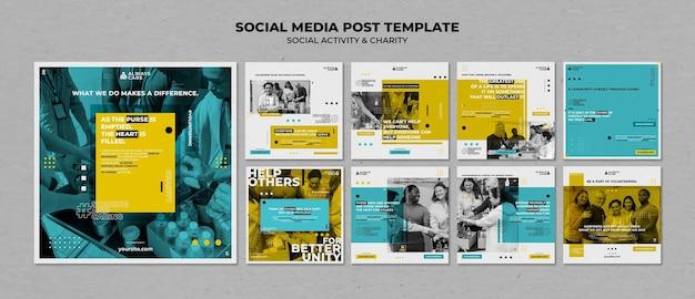 Postagens de atividades sociais e de caridade nas redes sociais