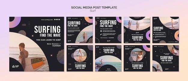 Postagens de aulas de surfe nas redes sociais