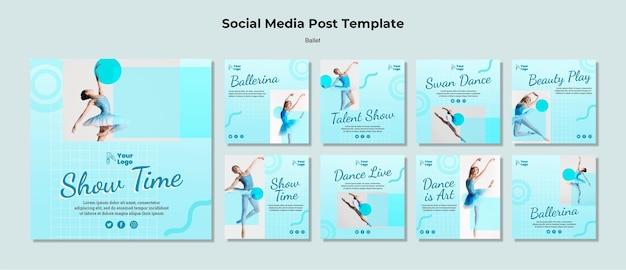Postagens de bailarinas nas redes sociais