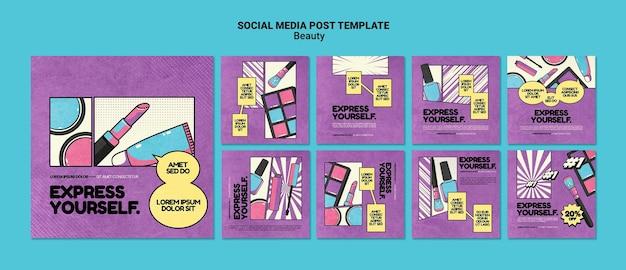 Postagens de beleza pop art nas redes sociais