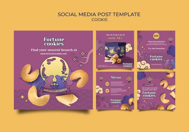 Postagens de cookies da sorte nas redes sociais