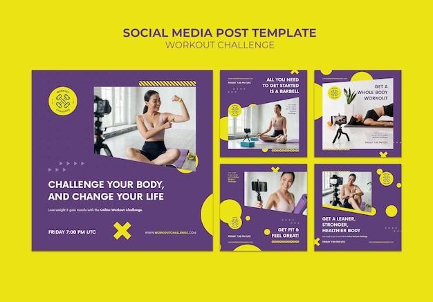 Postagens de desafio de treino nas redes sociais