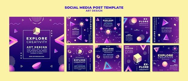 Postagens de design de arte nas redes sociais