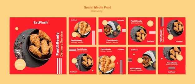 Postagens de entrega de comida nas redes sociais