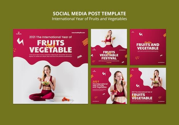 Postagens de frutas e vegetais nas redes sociais
