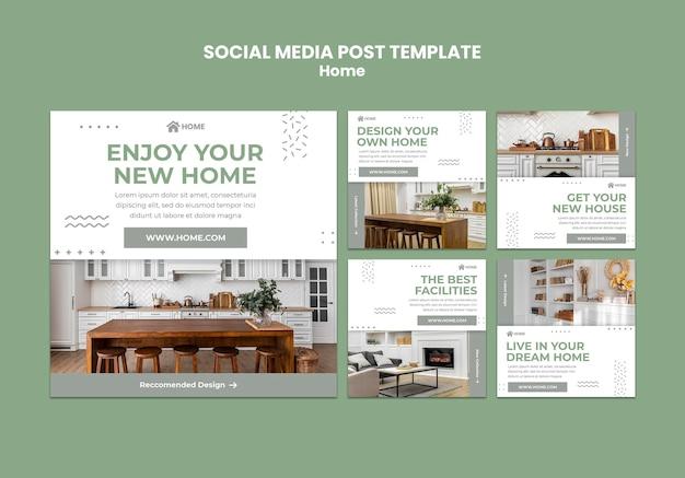 Postagens de histórias do instagram para novos designs de interiores de casas