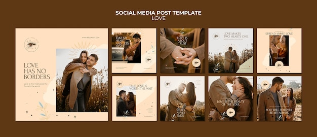 Postagens de instagram de casal adorável