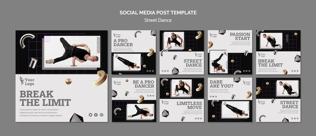 Postagens de instagram de dança de rua