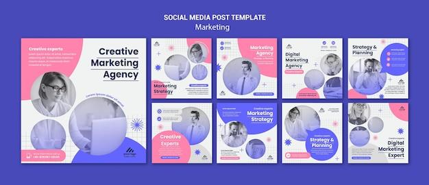 Postagens de instagram de estratégia de marketing
