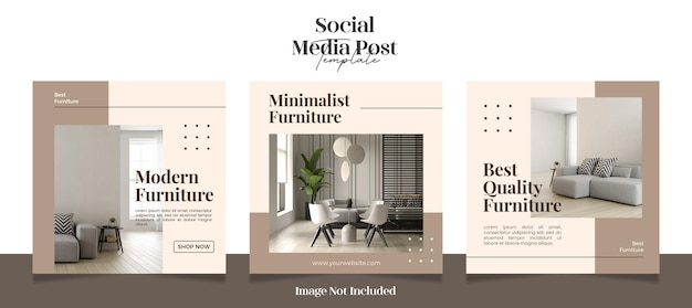 Postagens de instagram de mídia social quadradas e minimalistas modernas ou modelo de banner
