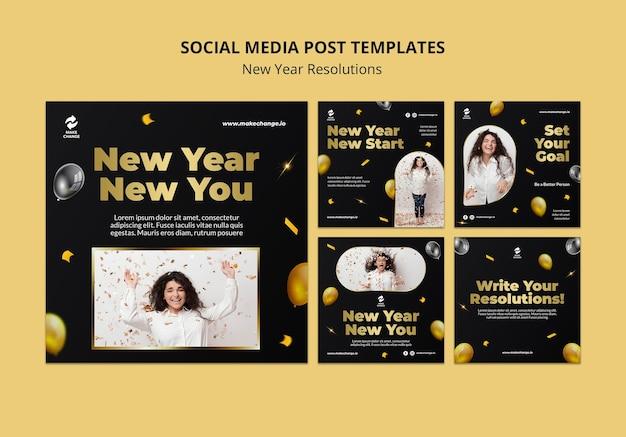 Postagens de instagram de resoluções de ano novo com detalhes dourados