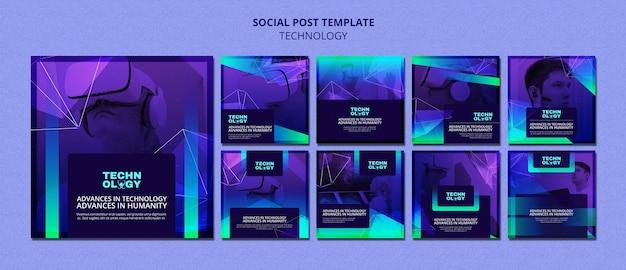 Postagens de instagram de tecnologia gradiente