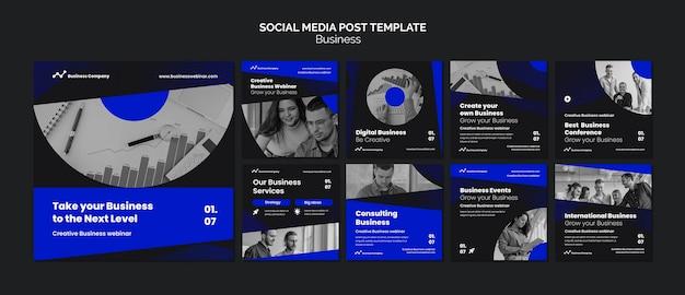 Postagens de instagram em webinar de negócios