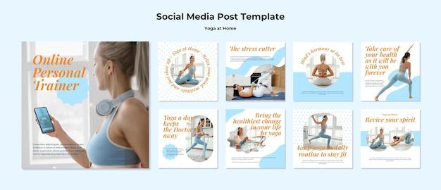 Postagens de ioga em casa nas redes sociais