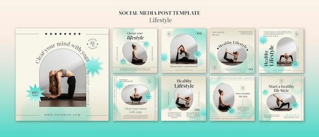 Postagens de ioga na mídia social