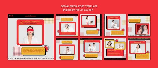 Postagens de lançamento de álbum em mídia social
