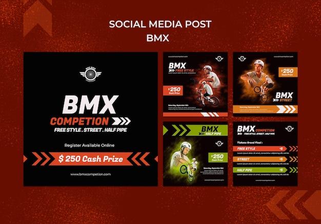 Postagens de mídia social bmx
