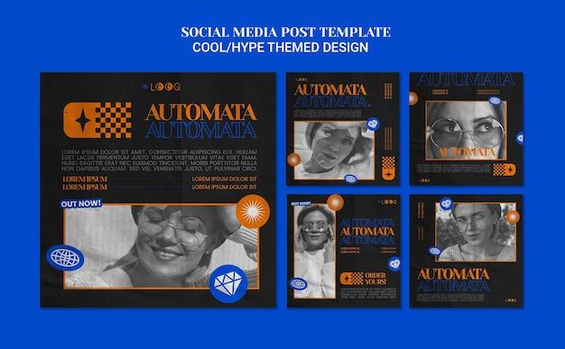 Postagens de mídia social com design temático