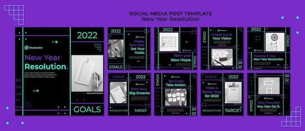 Postagens de mídia social com resoluções de ano novo escuro