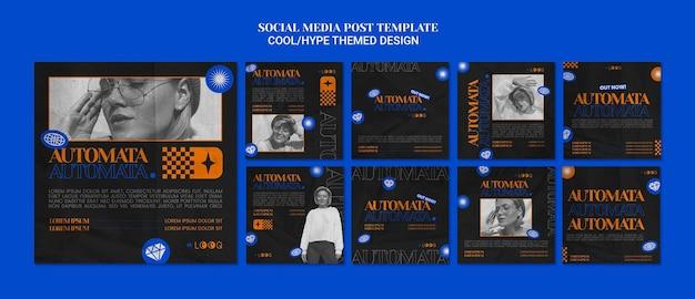 Postagens de mídia social com tema hype