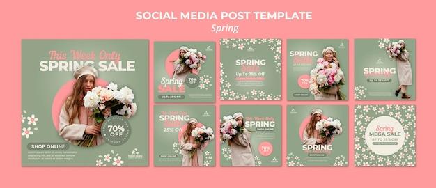 Postagens de mídia social da primavera