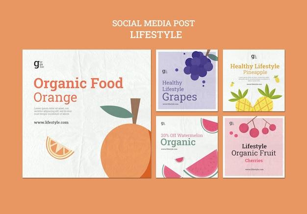 Postagens de mídia social de alimentos orgânicos
