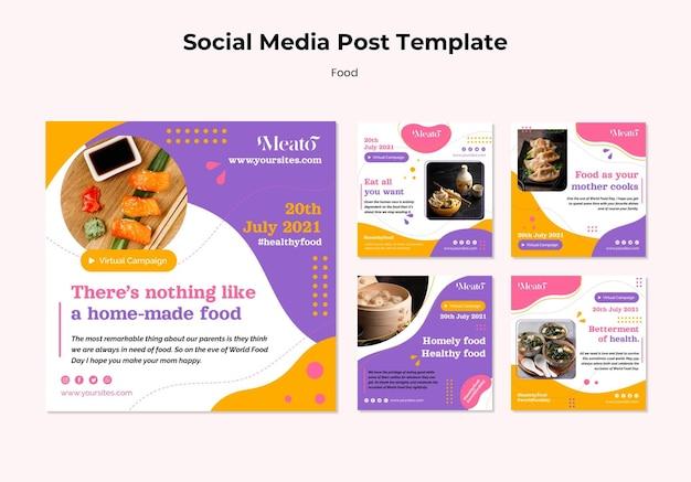 Postagens de mídia social de alimentos