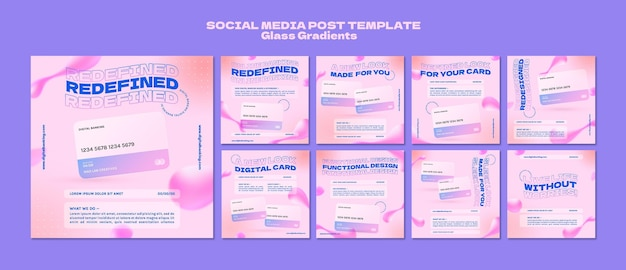 Postagens de mídia social de banco on-line