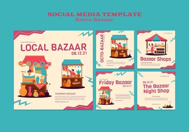 Postagens de mídia social de bazar retrô