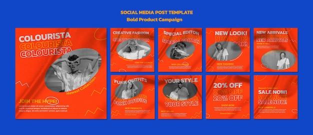 Postagens de mídia social de campanha de produto