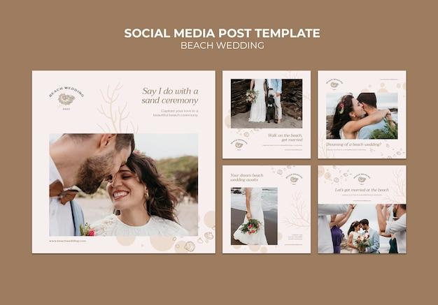Postagens de mídia social de casamento na praia