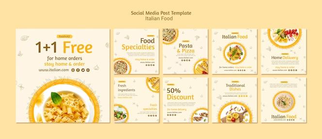 Postagens de mídia social de comida italiana