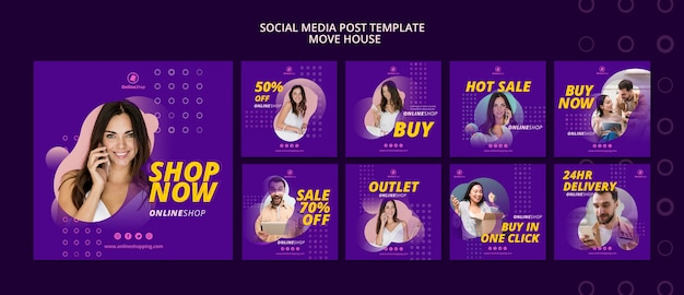Postagens de mídia social de compras online