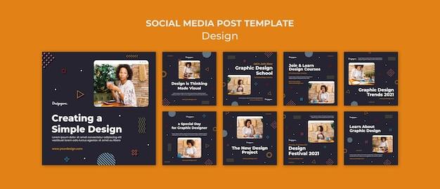 Postagens de mídia social de design gráfico