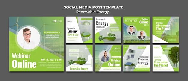 Postagens de mídia social de energia renovável