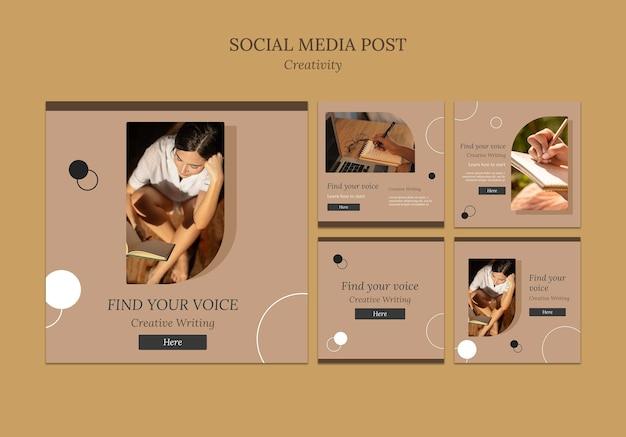 Postagens de mídia social de escrita criativa