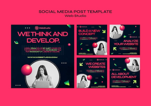 Postagens de mídia social de estúdio na web