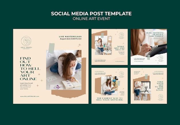 Postagens de mídia social de eventos de arte online