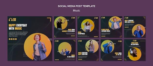Postagens de mídia social de eventos de música