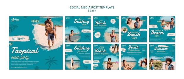 Postagens de mídia social de festa na praia