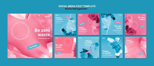 Postagens de mídia social de gerenciamento de resíduos