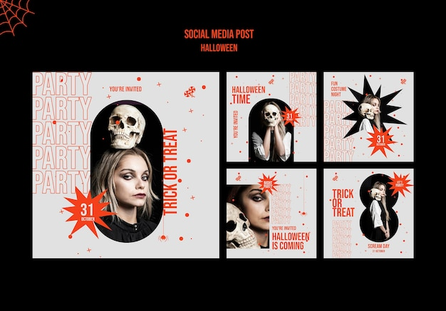 Postagens de mídia social de halloween com foto