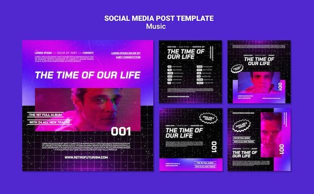 Postagens de mídia social de música futurista
