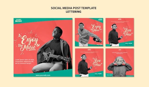 Postagens de mídia social de música