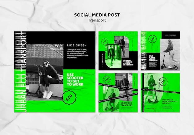 Postagens de mídia social de transporte ecológico
