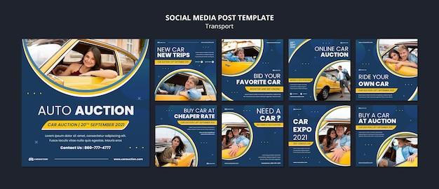 Postagens de mídia social de transporte