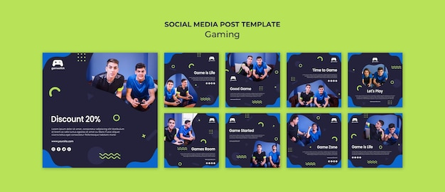 Postagens de mídia social de videogame