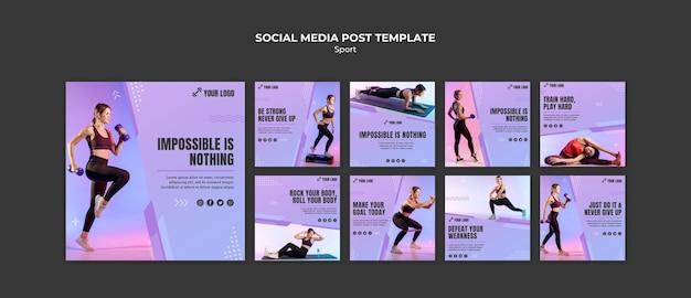 Postagens de mídia social do conceito de esporte